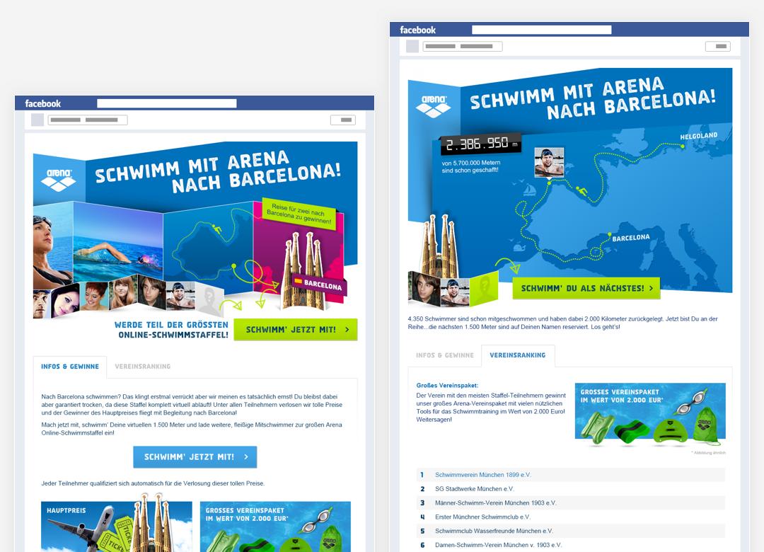 Arena Schwimmstafel Social Media Advertising